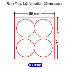Rank Tray - 2x2 Formation, 30mm Round Bases