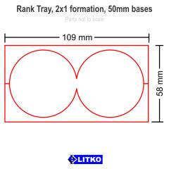 Rank Tray - 2x1 Formation, 50mm Round Bases
