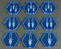 Space Missile Tokens - Fluorescent Blue