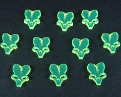 Alien Skull Tokens - Fluorescent Green