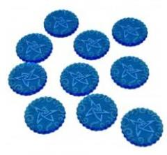 Cthulhu Mini Sealed Gate Tokens - Fluorescent Blue (10)