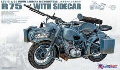 WWII German BMW R75 w/Sidecar and Trailer - Plastic