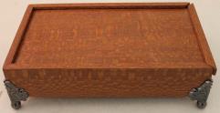 Premium Dice Chest - Leopardwood, Nickel Pedestal w/Green