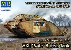 "Mk.I ""Male"" British Tank - Artillery Version, Somme Battle Period 1916"