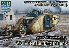 "Mk.I ""Female"" British Tank - Machinegun Version, Somme Battle Period 1916"