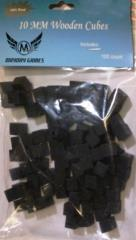 10mm Wooden Cube Tokens - Black