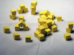 8mm Wooden Cubes - Yellow