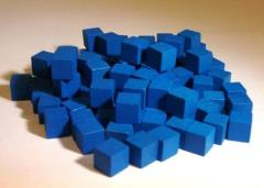 10mm Wooden Cube Tokens - Blue