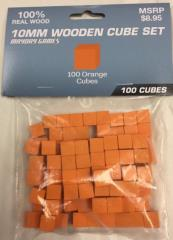 10mm Wooden Cube Tokens - Orange