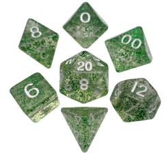 Mini Polyhedral Dice Set - Ethereal Green w/White (7)