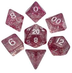Mini Polyhedral Dice Set - Ethereal Light Purple w/White (7)