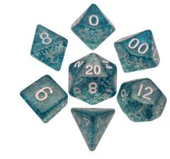 Mini Polyhedral Dice Set - Ethereal Light Blue w/White(7)