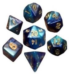 Dark Blue & Light Blue w/Gold (7)