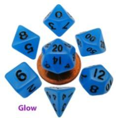 Mini Polyhedral Dice Set - Glow Blue w/Black (7)