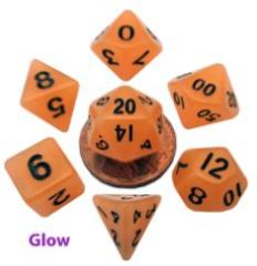Mini Polyhedral Dice Set - Glow Orange w/Black Numbers (7)