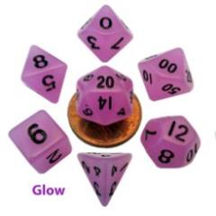 Mini Polyhedral Dice Set - Glow Purple w/Black Numbers (7)