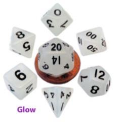 Mini Polyhedral Dice Set - Glow Clear w/Black (7)