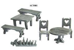 Tables, Chairs, Benches, & Bottles