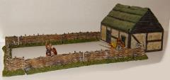 Dark Age House w/Thatched Roof & Wattle Fence Set