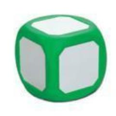 "Dry-Erase 4"" D6 - Magnetic, Green"