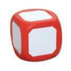 "Dry-Erase 4"" D6 - Magnetic, Red"