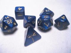 Mini Poly Set Blue w/Gold (7)