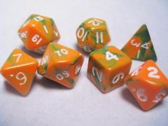 Mini Poly Set Orange & Green w/White (7)