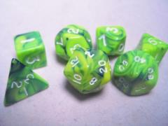 Mini Poly Set Green & Emerald w/White (7)