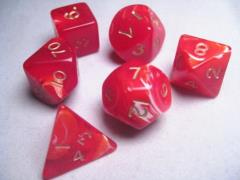 Poly Set Red w/Gold (7)