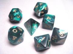 Poly Set Green w/Gold (7)