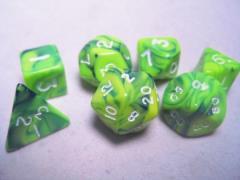 Poly Set Green & Blue w/Silver (7)