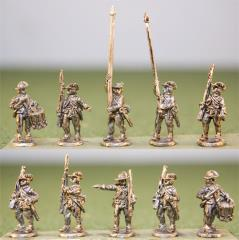 British Infantry Command in Cut Down Coats, Round Hats