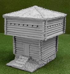 Large Block House w/Raised Base & Large Roof