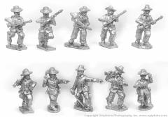 Spanish Infantry Advancing w/Command & Straw Hats
