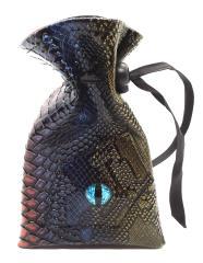 Spectral Dragon Eye Dice Bag - Blue & Gold