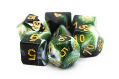 Poly Set Green & White w/Gold (7)
