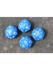 D20 Dice Pack - Blue w/White (4)