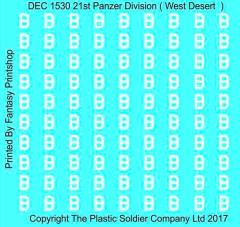 15mm Decal Set - 21st Panzer Division Western Desert