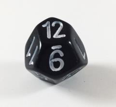 Pentagon Faced d12 - Black w/White