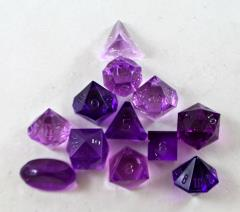 Full Poly Set Translucent Amethyst (12) (Plain)