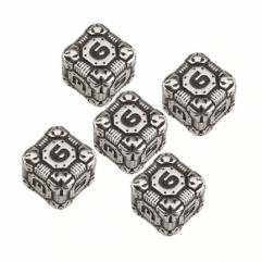 d6 Metal Dice w/Black (5)