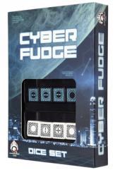 Cyber Fudge Dice - Blue & White (8)