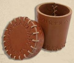 Runic Leather Dice Cup - Brown