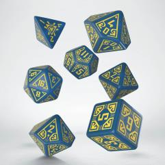 Arcade Dice Set - Blue w/Yellow (7)