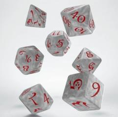 Dice Set - Pearl w/Red (7)