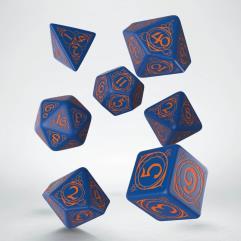 Wizard Dice Set - Dark Blue w/Orange (7)