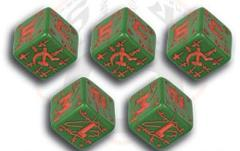 Soviet d6 Set - Green w/Red (5)