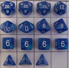 Polyhedral Dice - Royal Blue & Light Blue (15)