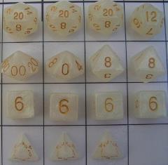 Polyhedral Dice - Ivory w/Gold (15)