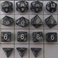 Polyhedral Dice - Grey & Black (15)